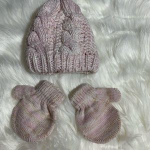Other - Knit Beanie and mittens blush pink